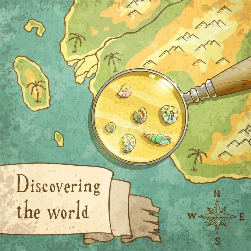 Lupa que muestra la naturaleza hermosa en el mapa viejo stock de ilustración