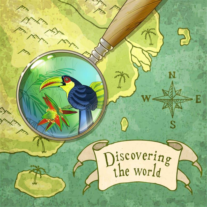 Lupa que muestra la naturaleza hermosa en el mapa viejo libre illustration