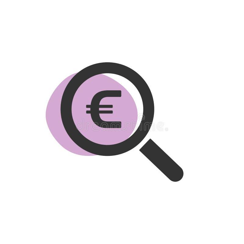 Lupa que procura o ícone isolado euro da Web ilustração do vetor