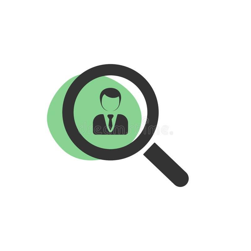 Lupa que procura um ícone isolado executivo da Web ilustração royalty free