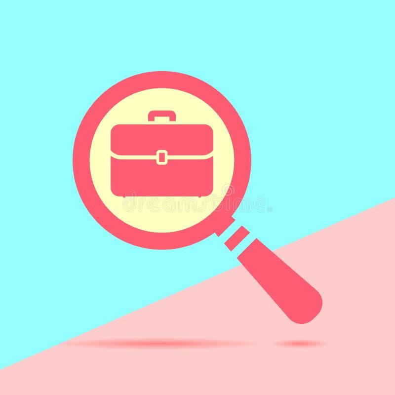 lupa roja moderna con el icono plano o de la cartera de la cartera stock de ilustración