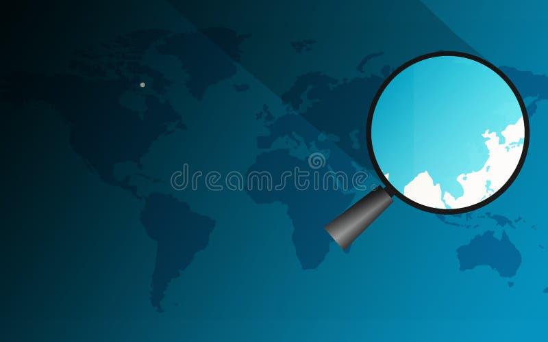 Lupa sobre el mapa de China ilustración del vector