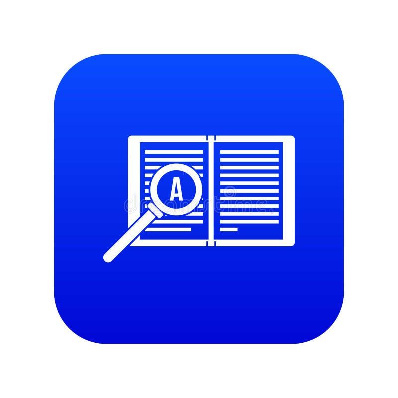 Lupa sobre o azul digital do ícone aberto do livro ilustração stock