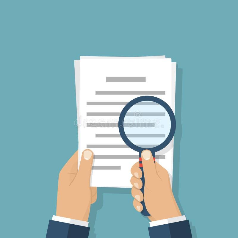Lupa y documento de papel stock de ilustración