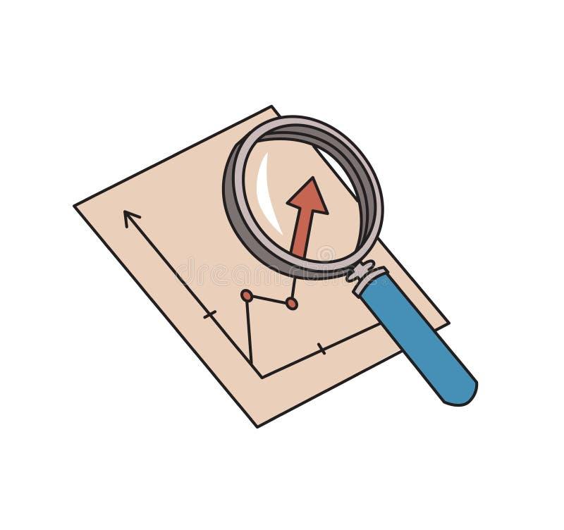 Lupa y gráfico Símbolo del Analytics Icono del análisis de la carta Línea coloreada ejemplo del vector Aislado en blanco libre illustration