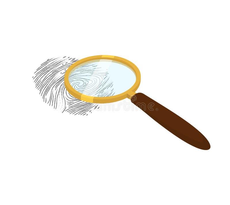 Lupa y huella dactilar stock de ilustración