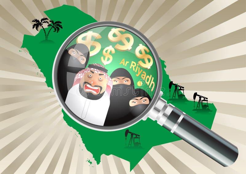 Lupe über einer Saudi-Arabien Karte Araber und seine drei Frauen in Niqab lizenzfreie abbildung