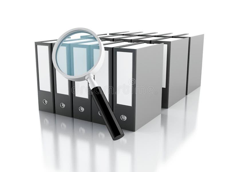 Lupe 3d mit Büroringmappen stock abbildung