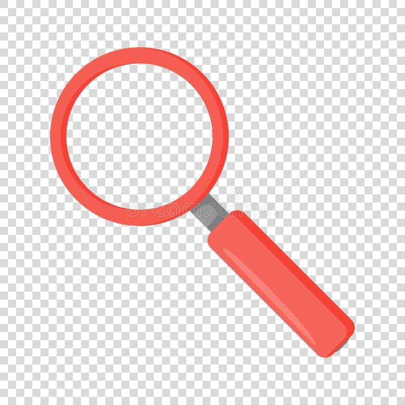 Lupe in der roten Farbe des flachen Entwurfs stock abbildung