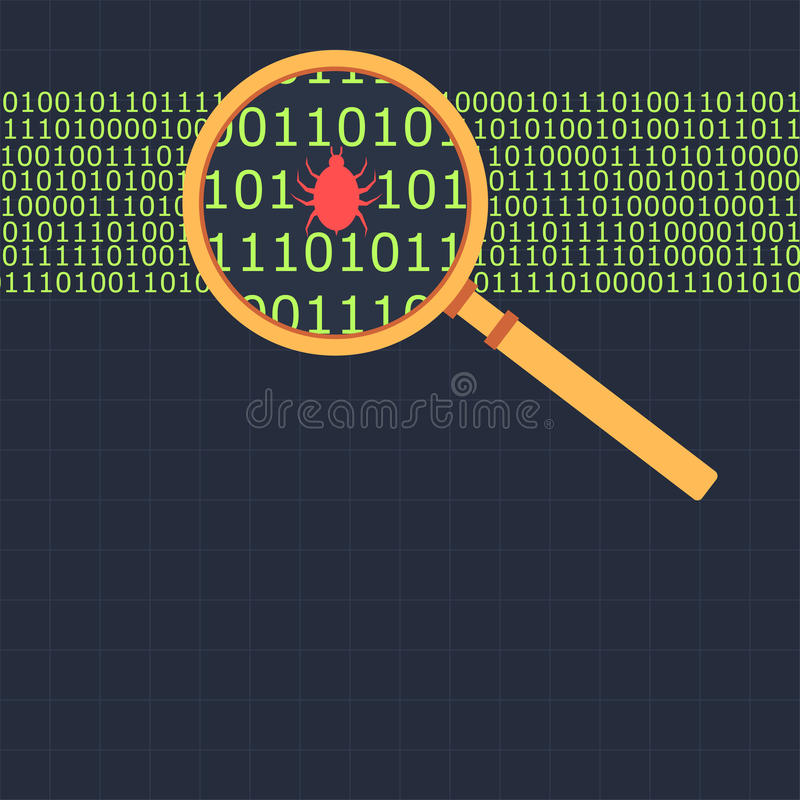 Lupe, die das binär Code findet Wanze betrachtet stock abbildung