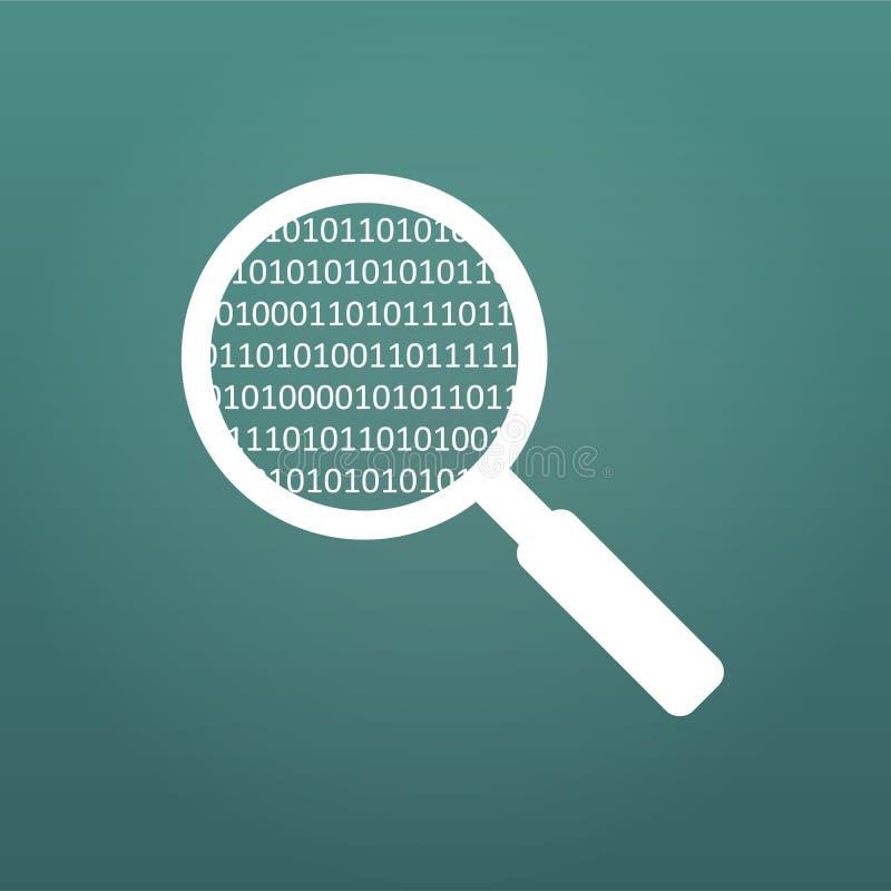 Lupe, die einen Computercode scannt und identifiziert Virenschutz und Computersicherheitskonzept Vektor Illustratio lizenzfreie abbildung