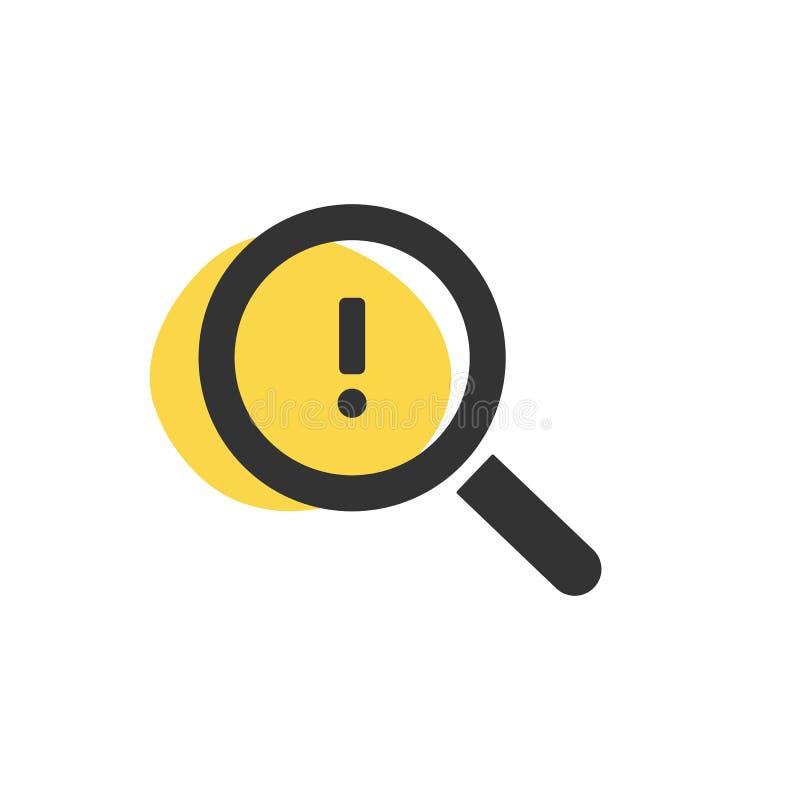 Lupe, die nach einer Warnung lokalisierten Netzikone sucht lizenzfreie abbildung