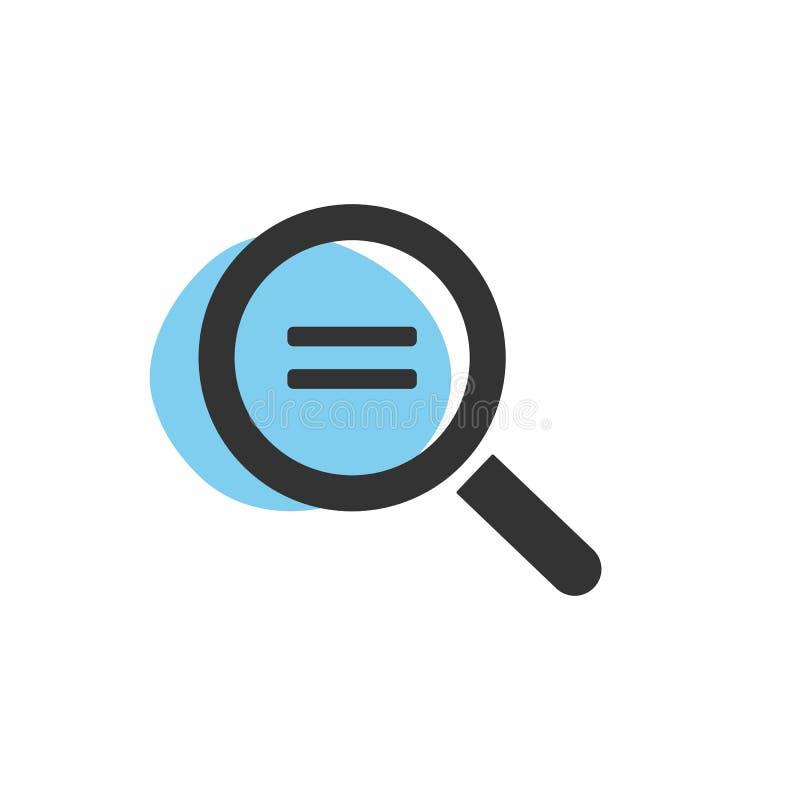 Lupe, die nach Gleichheit lokalisierter Netzikone sucht lizenzfreie abbildung