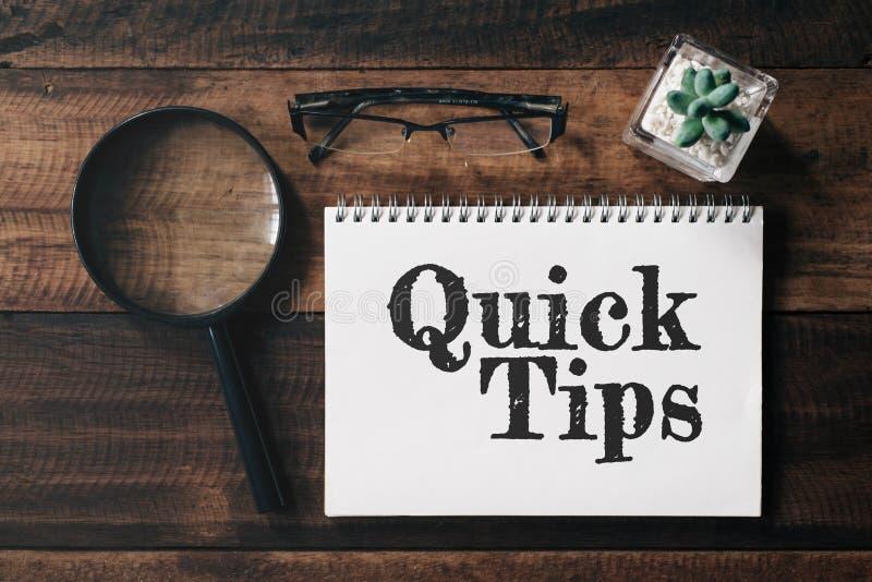 Lupe, Gläser, Kaktus und Notizbuch mit SCHNELLEM TIPP-Wort auf Holztisch stockbild