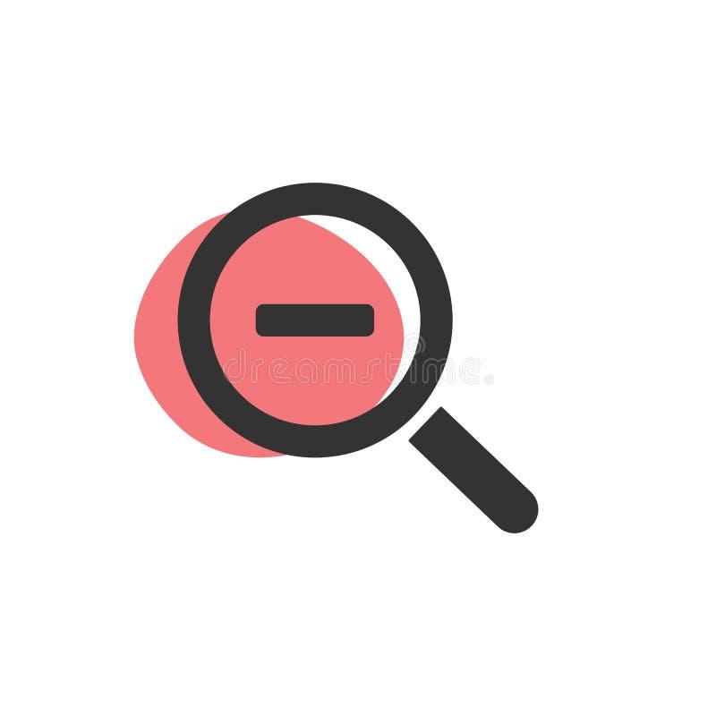 Lupe minus der Zoom lokalisierten Netzikone stock abbildung