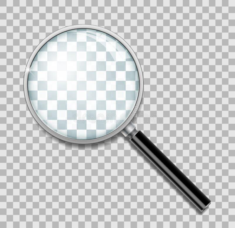 Lupe mit dem Stahlrahmen lokalisiert Realistische Lupenlinse für Zoom auf transparentem Hintergrund 3d lizenzfreie abbildung