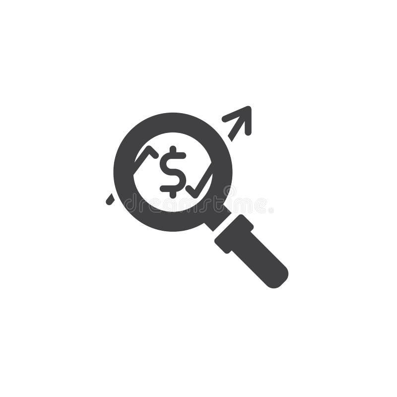 Lupe mit steigender Gelddiagramm-Vektorikone lizenzfreie abbildung
