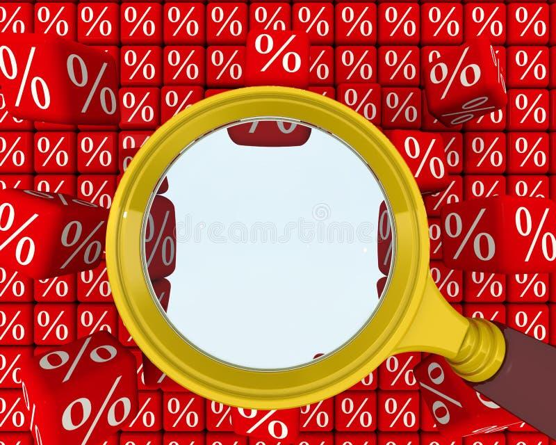 Lupe und ein Loch in der Wand der Prozente stock abbildung