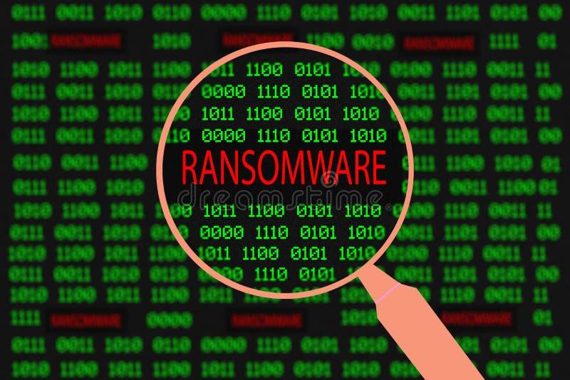 Lupe Vergrößerungsransomware im Computermaschinencode lizenzfreies stockfoto