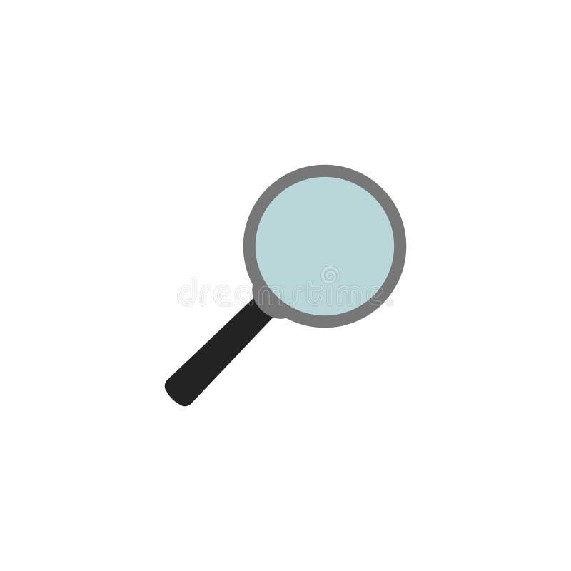 Lupen-flacher Ikonen-Vektor, Symbol oder Logo lizenzfreie abbildung
