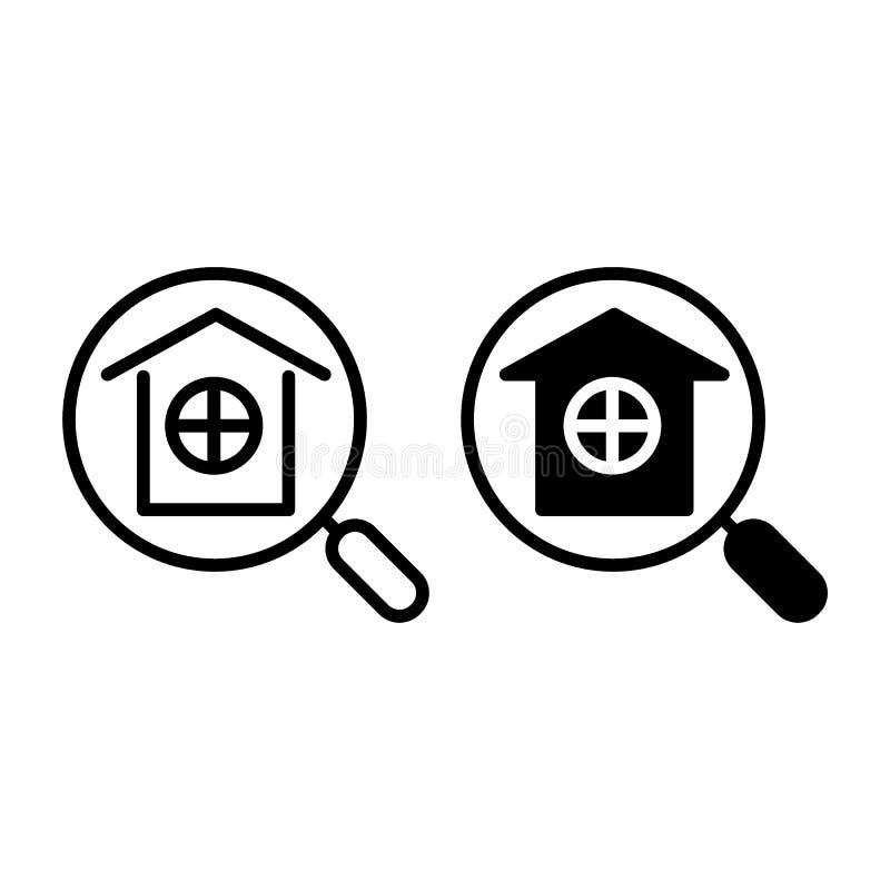 Lupen- und Hauslinie und Glyphikone Hauptsuchvektorillustration lokalisiert auf Weiß Immobilienentwurf vektor abbildung