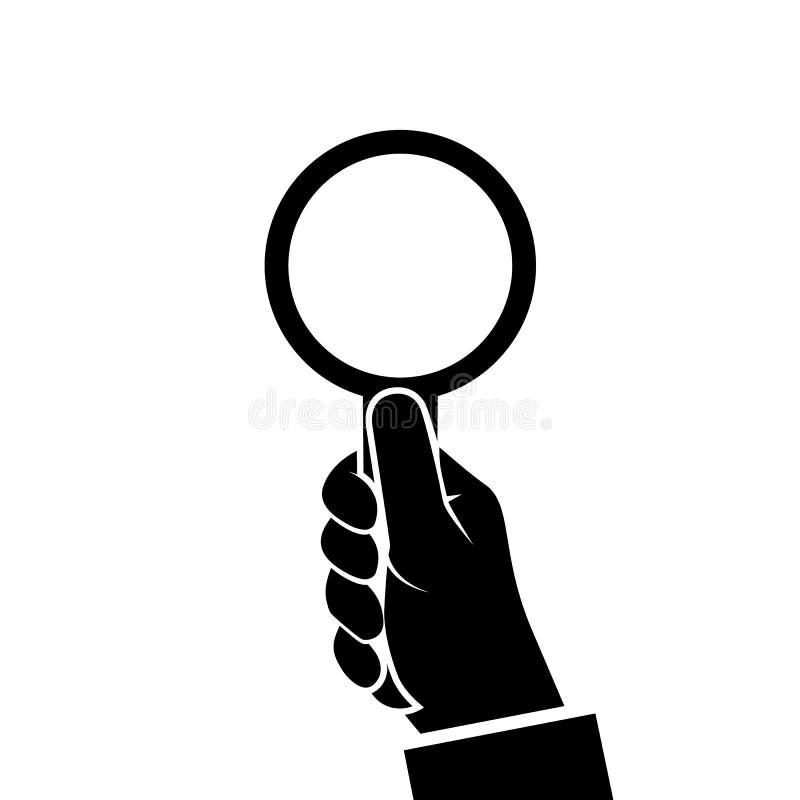 Lupenikone, die in der Hand Mann hält vektor abbildung