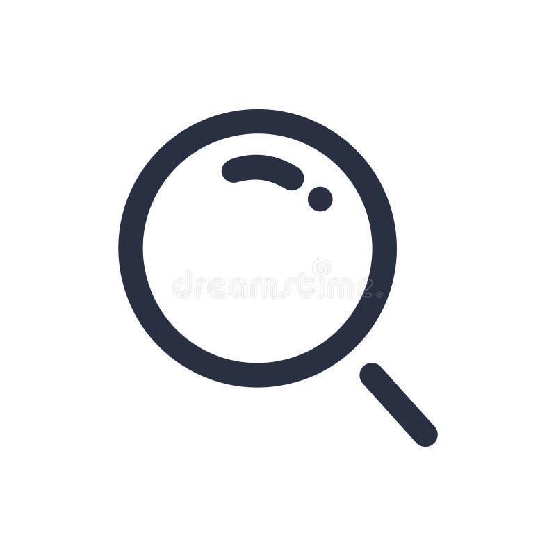 Lupenikone lokalisiert auf weißer Hintergrundillustration Zoomsymbol oder Suchikonenkonzept stock abbildung