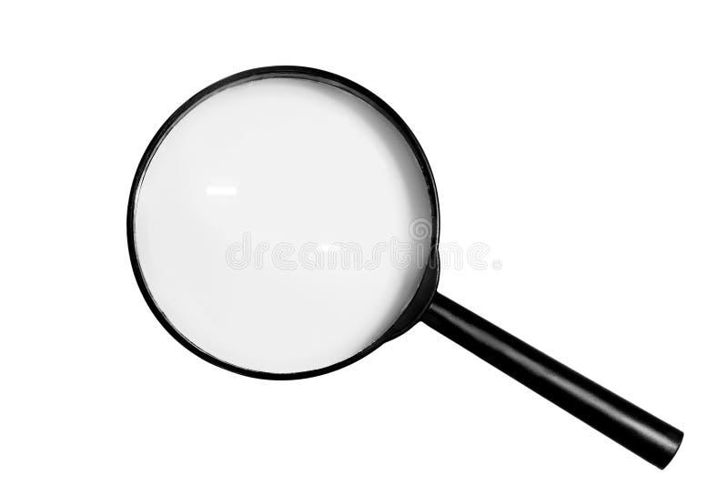 Lupenvergrößerungsglas auf weißem Hintergrund stockfotografie