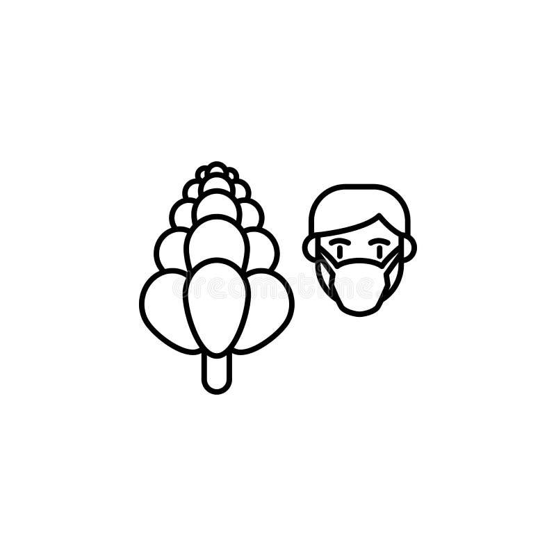 Lupine, allergisch pictogram Element van problemen met allergieënpictogram Dun lijnpictogram voor websiteontwerp en ontwikkeling, stock illustratie