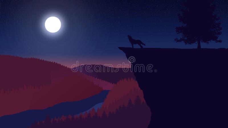 Lupo che urla alla luna Natura e paesaggio royalty illustrazione gratis