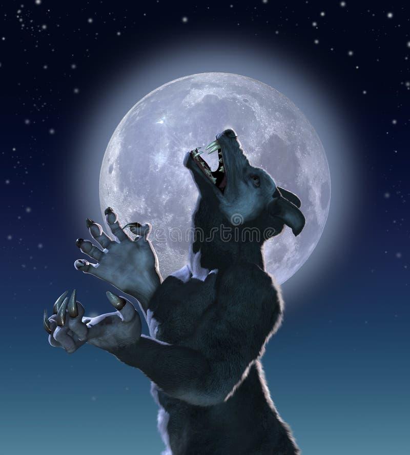 Lupo del mutante nella luce della luna royalty illustrazione gratis