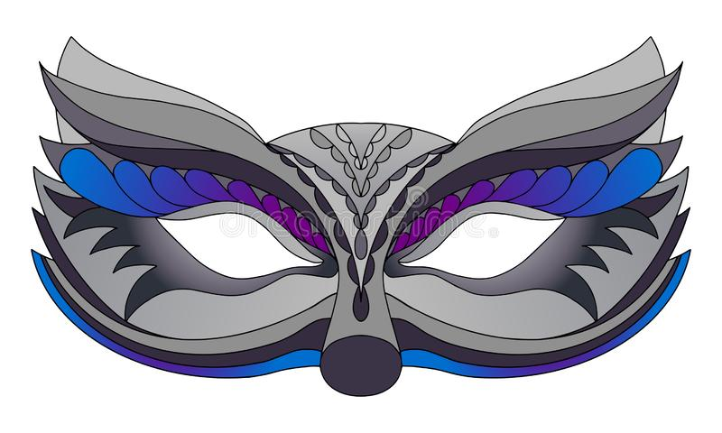 Lupo della maschera di carnevale Isolato su priorit? bassa bianca illustrazione vettoriale