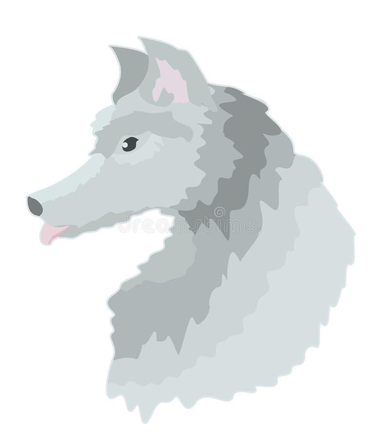 Lupo grigio dell'autoadesivo nel profilo illustrazione vettoriale