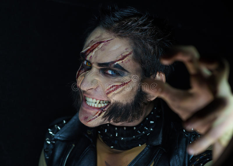 Lupo mannaro professionale Wolverine di trucco fotografie stock libere da diritti