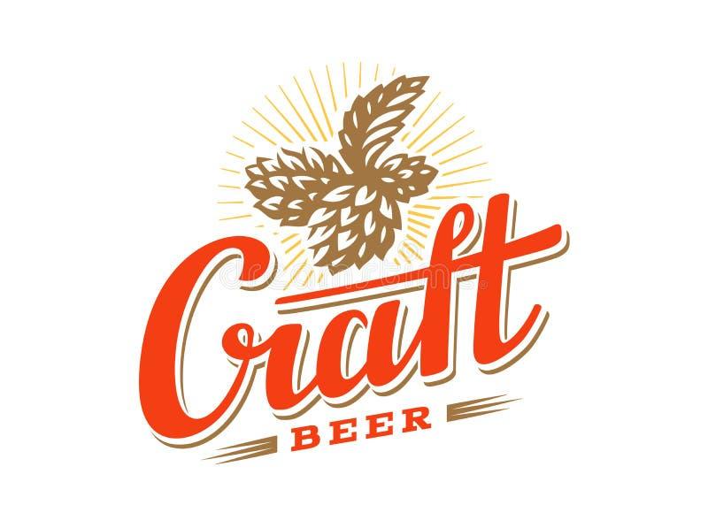 Luppolo dell'illustrazione di vettore di logo della birra del mestiere, progettazione dell'emblema illustrazione di stock