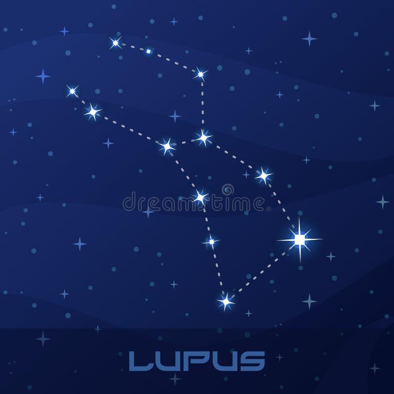 Lupus de constellation, loup, ciel d'étoile de nuit illustration libre de droits