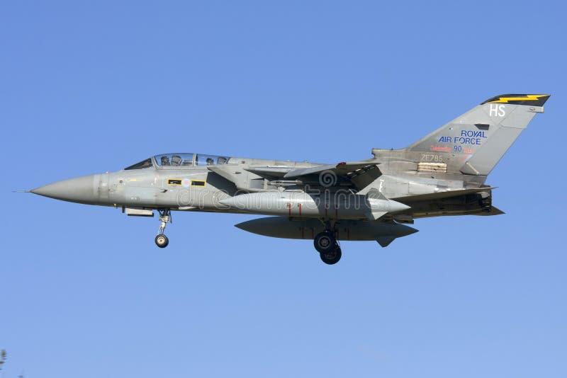 Luqa,马耳他2008年11月7日:皇家空军龙卷风着陆 免版税库存图片