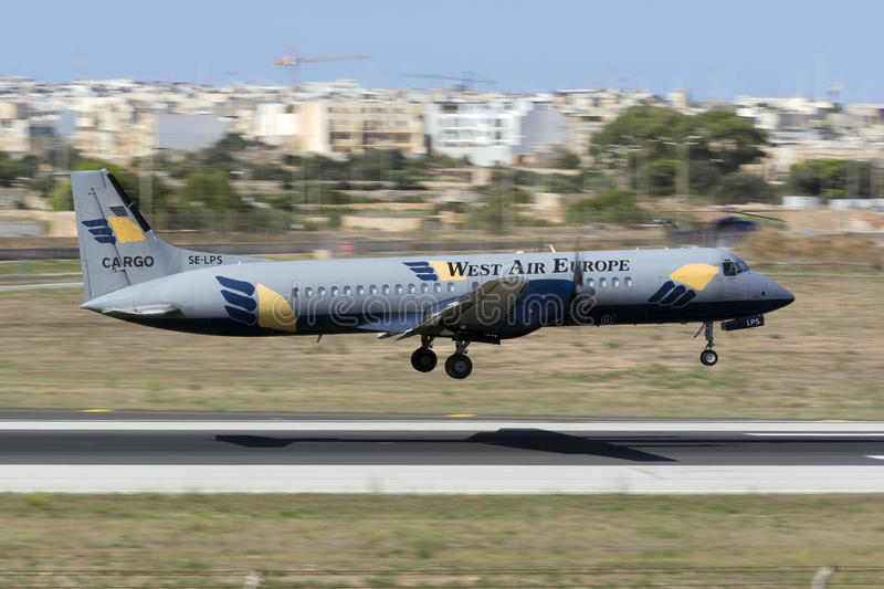Luqa, Malta am 18. August 2015: Atp-Landung stockbild