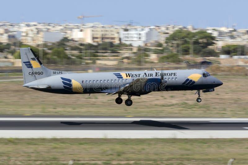 Luqa Malta 18 Augusti, 2015: Atp-landning fotografering för bildbyråer