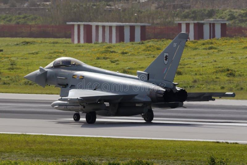 Luqa, Malta 5 February 2015: Eurofighter Typhoon preparing for take off. royalty free stock image