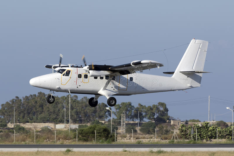 Luqa, Malta 18 June 2015: French Air Force dHC-6 landing runway 31. stock image