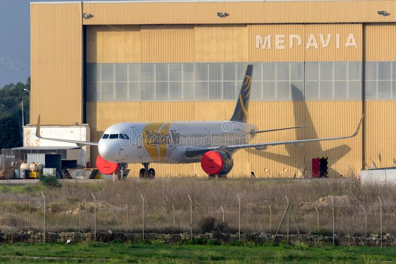 Now defunct Primera Airliner. Luqa, Malta - October 21, 2018: Premiair Airbus A321-251N OY-PAF outside Medavia Hangar, waiting o be registered as OE-IHS, after royalty free stock images