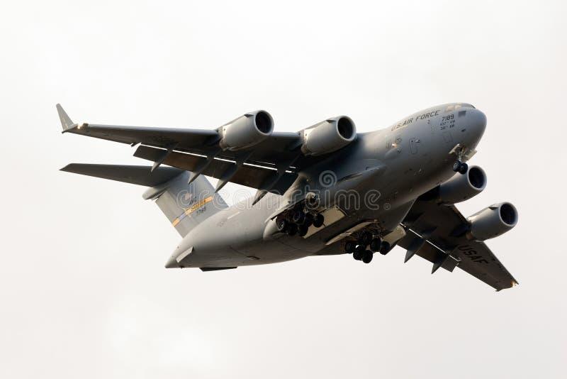 Luqa, Malta 24 ottobre 2015: Atterraggio C-17 immagini stock libere da diritti