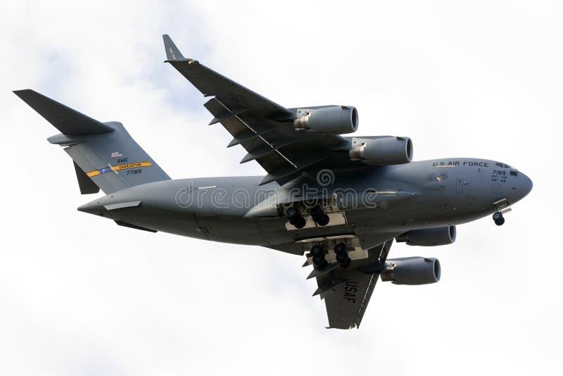 Luqa, Malta 24 ottobre 2015: Atterraggio C-17 fotografia stock libera da diritti