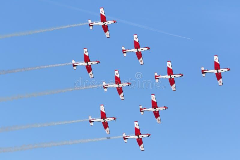 Luqa, Malta 27 September 2015: Zwitserse Luchtmacht Pilatus ncpc-7 vertoningsteam royalty-vrije stock afbeelding