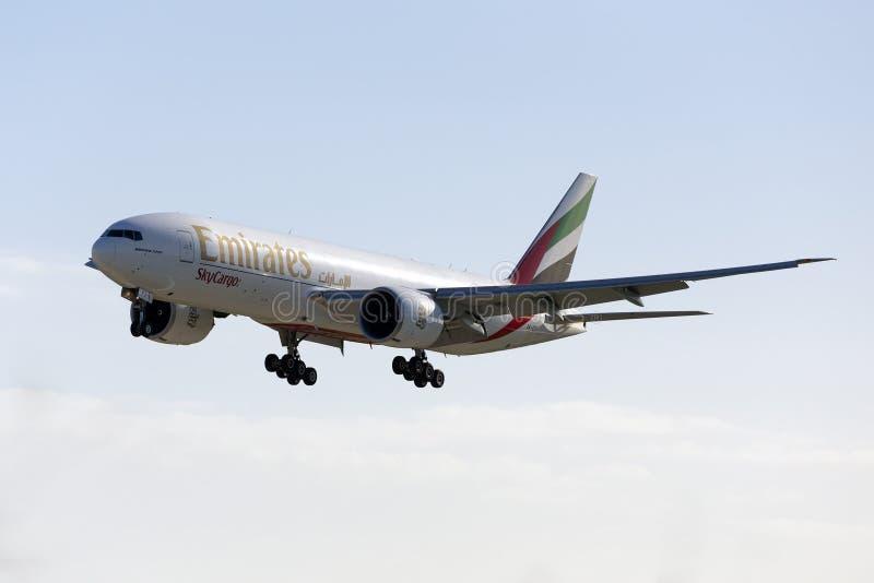 Luqa, Malta 14 2016 Styczeń: Ładunek 777 na finałach obrazy stock