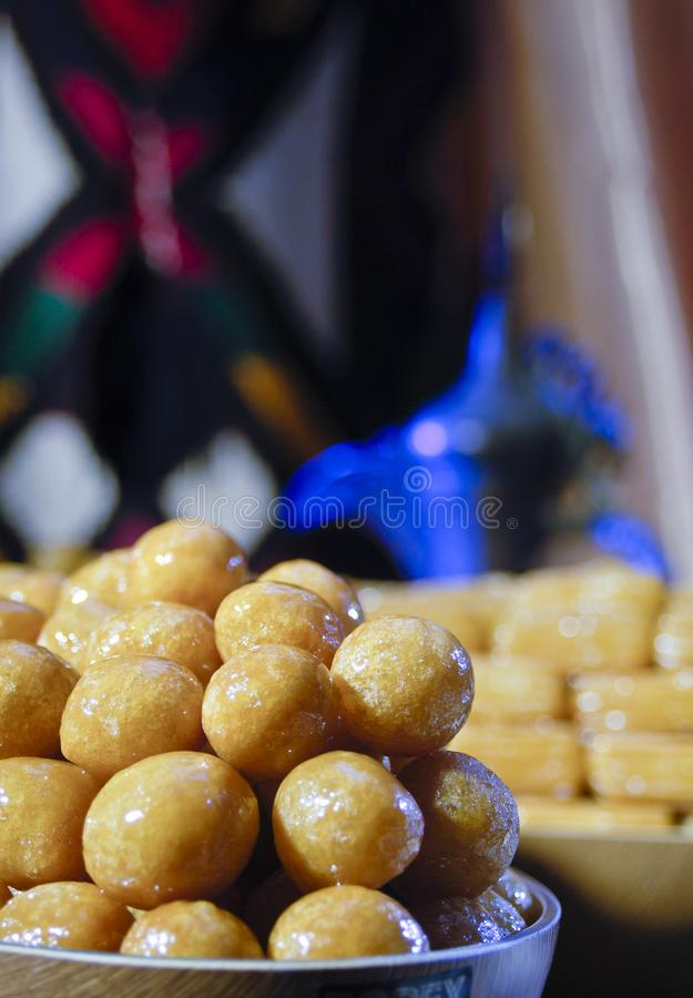 Luqaimat, Awwama, or Luqmat Alqadi, Different Names for This Ara. Bic Sweets for Ramadan and Eid royalty free stock photo