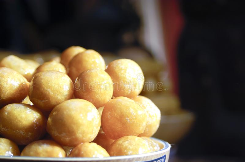 Luqaimat, Awwama, or Luqmat Alqadi, Different Names for This Ara. Bic Sweets for Ramadan and Eid stock photography