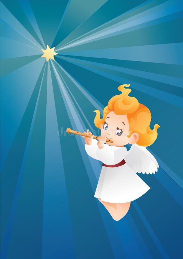 Lura ängelmusikerflutis, flöjtistflyg på en danande för natthimmel stock illustrationer