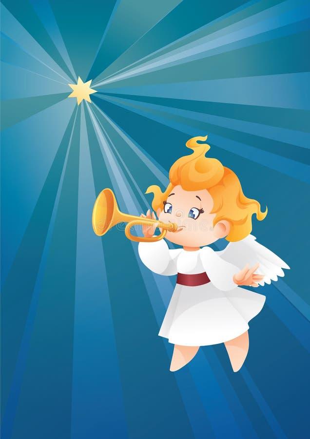 Lura ängelmusikerflyget på en natthimmel, danandefanfarappell royaltyfri illustrationer
